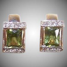 Vintage 14K GOLD Earrings - 2.62CT TW, Diamond, Peridot, Hoops, Pierced