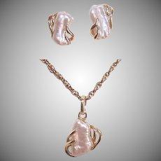 Vintage 14K GOLD Jewelry Set - Freshwater Pearl, Pendant, Earrings