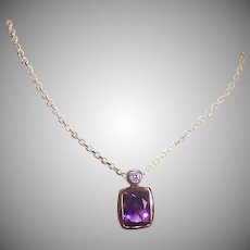 Vintage 14K GOLD Necklace - Amethyst, Diamond, Pendant with Chain