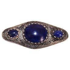 China Silver Lapis Lazuli Filigree Pin Brooch