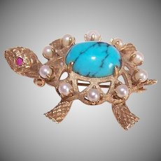 Vintage 14K GOLD Pin - Cultured Pearl, Turquoise, Ruby, Turtle, Brooch