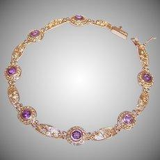 FINAL MARKDOWN Vintage 14K GOLD Bracelet - 1.75CT TW, Amethyst, Modernist Design, Pale Coloring