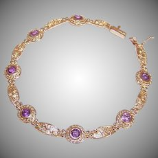 Vintage 14K GOLD Bracelet - 1.75CT TW, Amethyst, Modernist Design, Pale Coloring