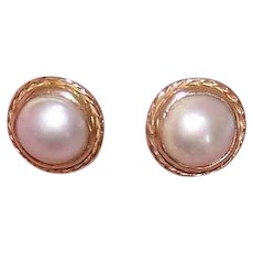 Antique Edwardian 14K GOLD Earrings - Mabe Pearl, Round, Designer Signed, Barton A. Ballou
