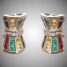 Vintage 14K GOLD Earrings - 1.50CT TW Diamond, Ruby, Emerald, Sapphire, Citrine