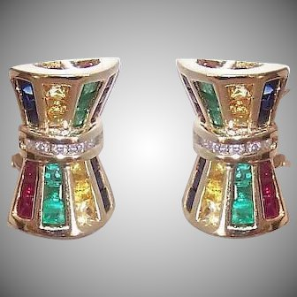 Vintage 14K GOLD Earrings - 1.50CT TW Diamond, Ruby, Emerald, Sapphire, Citrine
