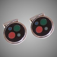 Retro Modern STERLING SILVER Cufflinks - Mexican, Inlaid Stone, Round, Modernist