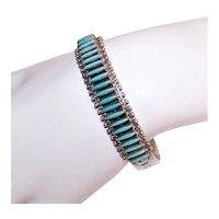 Bryant Waatsa Zuni Sterling Silver Petit Point Turquoise Cuff Bracelet