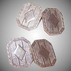 ART DECO Gold Filled Cufflinks - Krementz, White Gold, Guilloche (Engine Turned)
