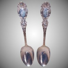 Wallace Silversmiths, Lucerne Pattern, STERLING SILVER, 2 Serving Spoons, Monogram M