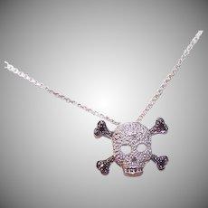 10K Gold Diamond Skull Crossbones Pendant