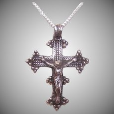 Vintage STERLING SILVER Pendant - Religious, Cross, Crucifix, Medieval-Like