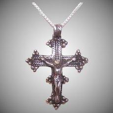 Vintage Sterling Religious Cross Pendant