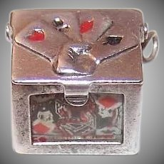 Vintage STERLING SILVER Charm - Enamel, Mechanical, Hand with 4 Aces, Deck of Cards