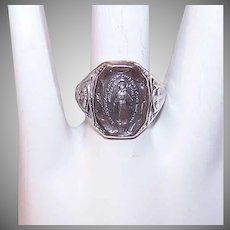 Vintage STERLING SILVER Ring - Religious, Miraculous Medal, Mary, Catholic