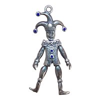 Sterling Silver Blue Enamel Mechanical Jumping Jack Charm Pendant