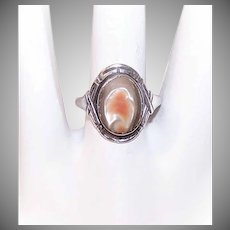 Vintage STERLING SILVER Ring - Abalone, Blister Pearl, Art Deco