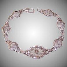 ART DECO Sterling Silver Bracelet - Filigree, Camphor Glass, Rhinestone