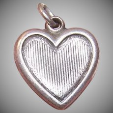 Vintage STERLING SILVER Charm - Puffy Heart, Ribbed Front, Engraved LIS or SIS