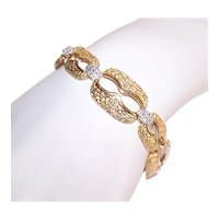 Ross Simons Sterling Silver Vermeil Diamond Wide Link Bracelet