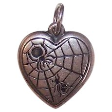 Vintage STERLING SILVER Charm - Puffy Heart, The Spider and the Fly