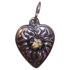 Vintage STERLING SILVER Charm - Enamel, Puffy Heart, Edelweiss, Floral