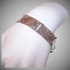 Vintage STERLING SILVER Bracelet - Link, Panels, Etched Floral, Spring Clasp Closure