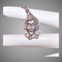 Vintage STERLING SILVER Charm - Laughing Clown, Wears Ruff and Hat
