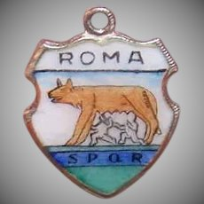 Vintage 800 SILVER & Enamel Souvenir Charm from Rome, Italy