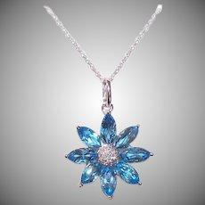Vintage 14K GOLD Necklace - 4.20CT TW Aquamarine, Diamonds, Daisy, Pendant, With Chain