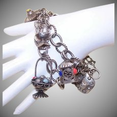 Pair of VINTAGE Silver Charm Bracelets - Silver Plate - Silverplate with Faux Gemstone Charms