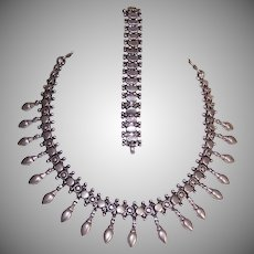 Vintage STERLING SILVER Set - Middle Eastern, Tribal, Fringe, Necklace, Bracelet