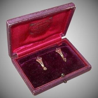 ANTIQUE VICTORIAN 14K Gold Earrings - Rose Cut Diamonds, Drops, Original Box