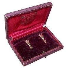 Antique 14K Gold Rose Cut Diamond Earrings