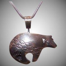 Vintage STERLING SILVER Pendant - Enamel, Designer Signed, Ernest Pino, Reversible, Bear