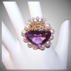 FOR THE QUEEN!  Vintage 14K Gold Ring - 16.35CT TW Amethyst, Cultured Pearl, Diamond, Heart, Crown
