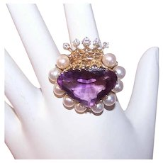 Vintage 14K Gold Ring - 16.35CT TW Amethyst, Cultured Pearl, Diamond, Heart, Crown