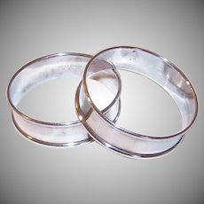 Gorham, STERLING SILVER, Pair of Napkin Rings, Plain, Design 6290