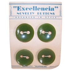Vintage Carded Set/4 Green Bakelite Early Plastic Buttons