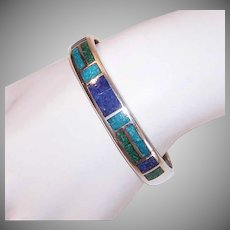 Vintage STERLING SILVER Bracelet - Cuff, Stone Inlay, Lapis Lazuli, Turquoise