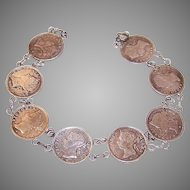 Vintage COIN SILVER Bracelet - Hong Kong 5 Cent Pieces, Queen Victoria Heads