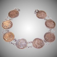 Vintage COIN SILVER Bracelet - Hong Kong 5 Cent Pieces, Queen Victoria Heads