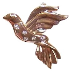 Vintage 14K GOLD Pin - Diamonds, Dove of Peace, Religious, Fashion Brooch