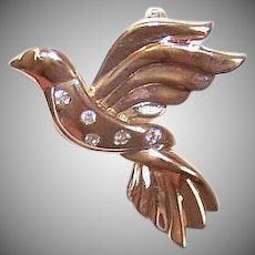 Vintage 14K GOLD Pin - Diamonds, Dove of Peace, Religious, Brooch
