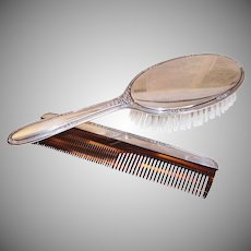 C.1946 STERLING SILVER Brush & Comb Set - R. Blackinton & Co., Flowered Antique