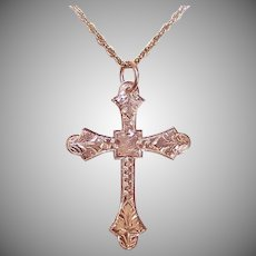 ANTIQUE VICTORIAN 14K Gold Pendant - Religious, Cathedral Cross, Etched Front, Plain Back