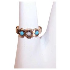 Edwardian 10K GOLD Baby Ring - Faux Turquoise, Faux Pearl