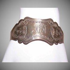 ANTIQUE VICTORIAN Sterling Silver Bracelet - Etched, Adjustable, Monogram MED