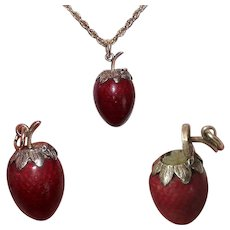 Antique Silver Gilt Enamel Strawberry Vinaigrette Pendant