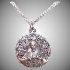 Vintage STERLING SILVER Necklace - Religious, Sacred Heart, Jesus, Virgin & Child, Mens, Creed Sterling